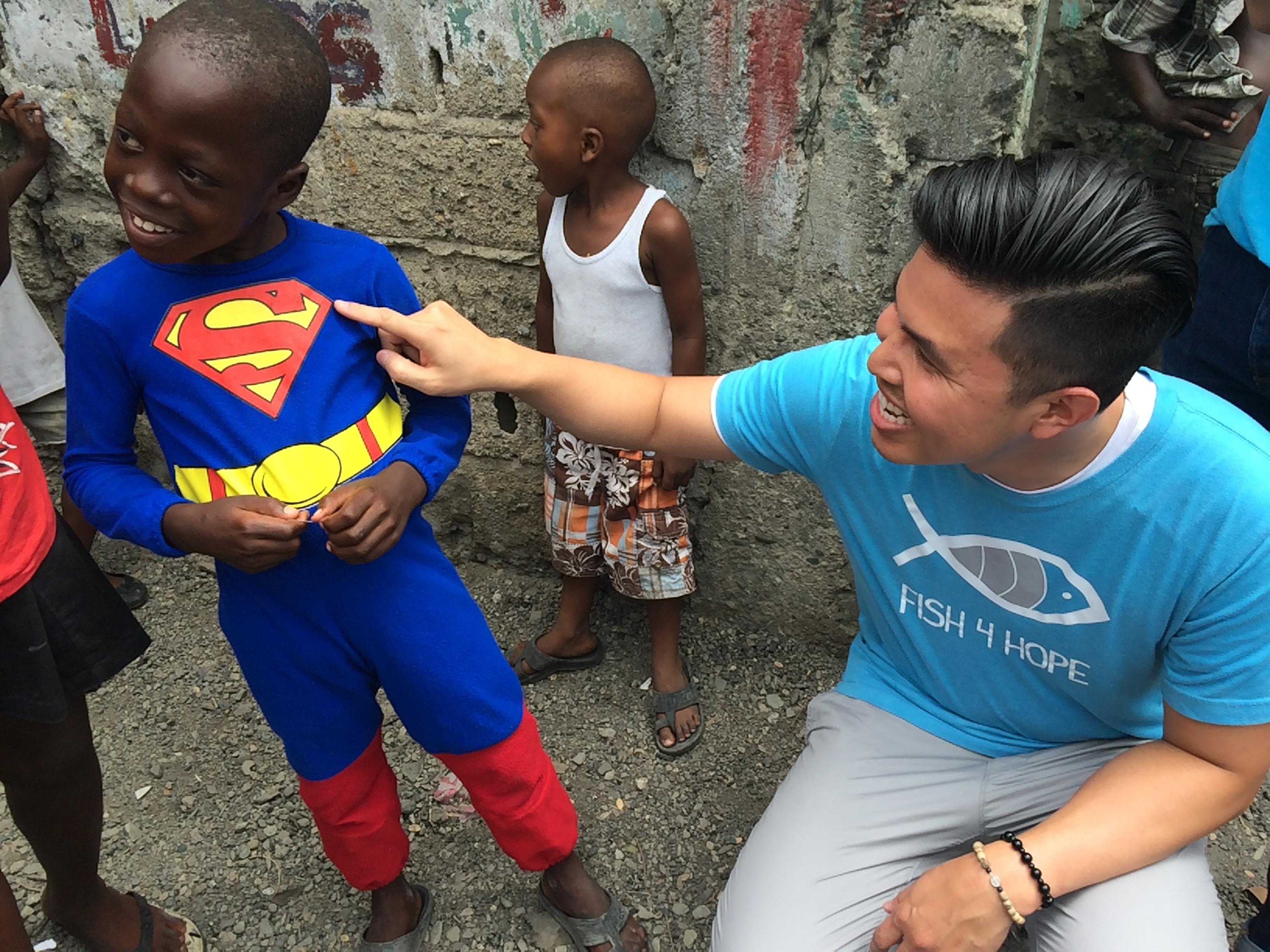Fish4Hope co-founder Vin poses with Superman