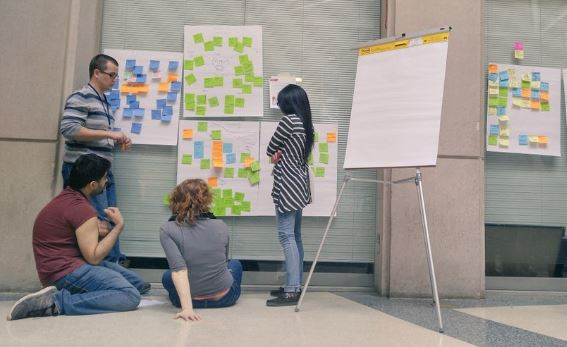 Students brainstorm during the Next Generation Mobility Challenge event series