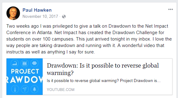 Paul Hawken Facebook post on Project Drawdown
