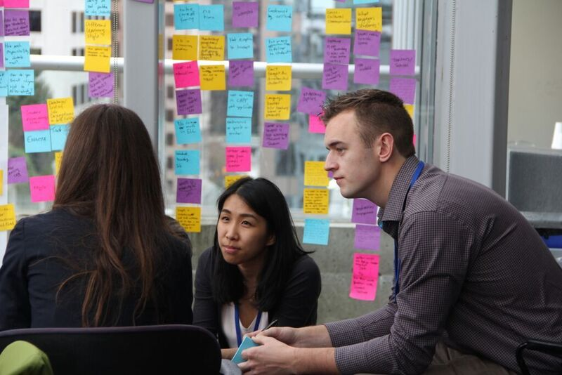 Students brainstorming during an Impact Design event